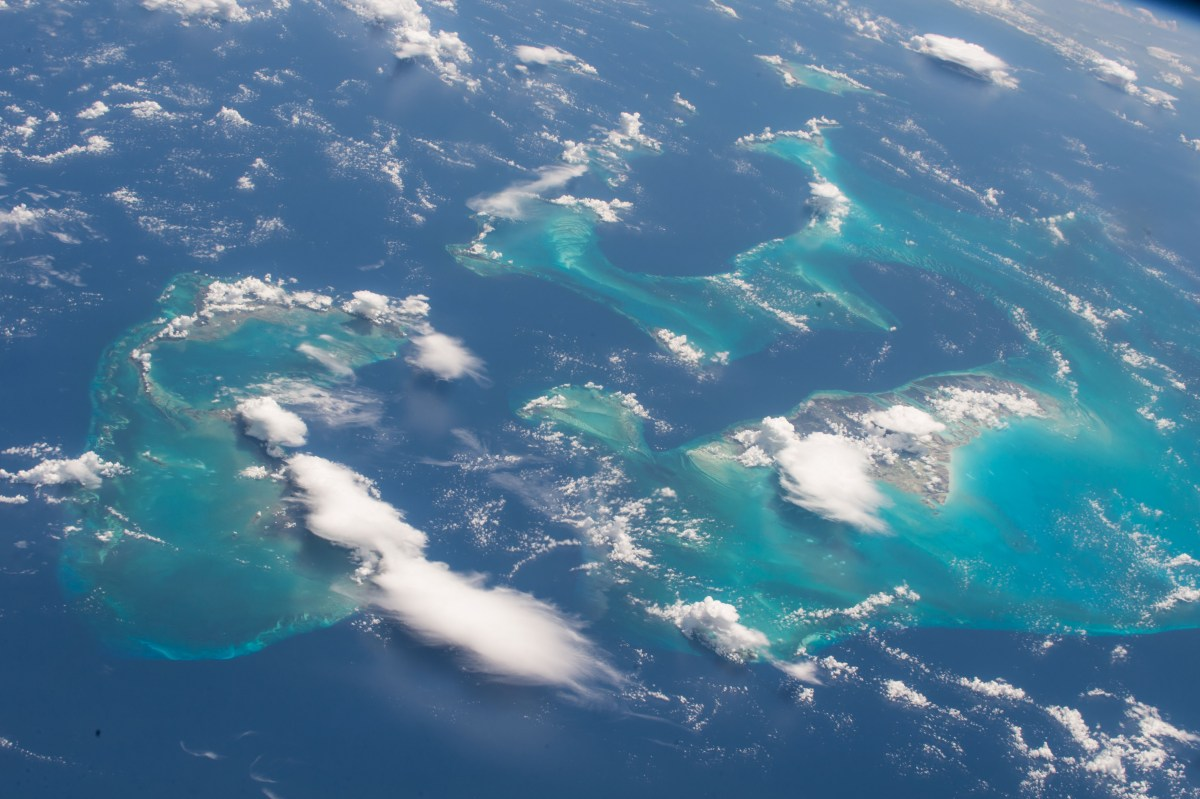 NASA's space station flight over the Bahamas